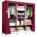 Fancy portable folding fabric wardrobe with metal tubes clothes storage wardrobe